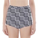 Black And White Basket Weave High-Waisted Bikini Bottoms View1