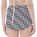 Black And White Basket Weave High-Waisted Bikini Bottoms View2