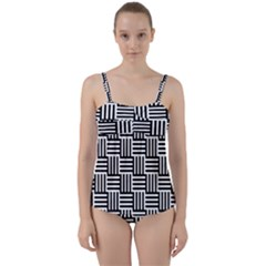 Black And White Basket Weave Twist Front Tankini Set
