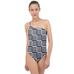 Black And White Basket Weave Classic One Shoulder Swimsuit