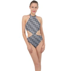 Black And White Basket Weave Halter Side Cut Swimsuit