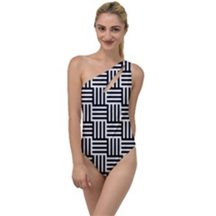 Black And White Basket Weave To One Side Swimsuit