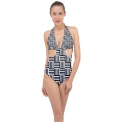 Black And White Basket Weave Halter Front Plunge Swimsuit