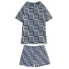 Black And White Basket Weave Kids  Swim Tee and Shorts Set