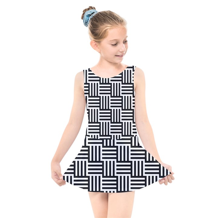 Black And White Basket Weave Kids  Skater Dress Swimsuit