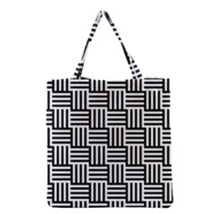 Black And White Basket Weave Grocery Tote Bag
