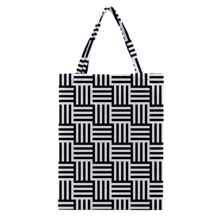 Black And White Basket Weave Classic Tote Bag