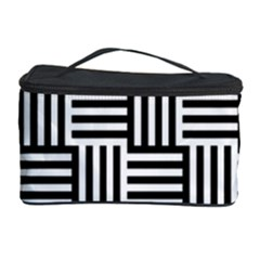 Black And White Basket Weave Cosmetic Storage
