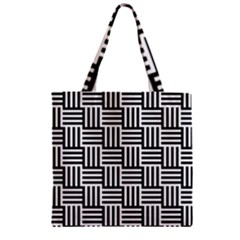 Black And White Basket Weave Zipper Grocery Tote Bag