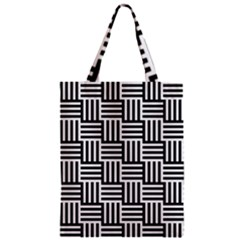 Black And White Basket Weave Zipper Classic Tote Bag