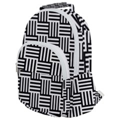 Black And White Basket Weave Rounded Multi Pocket Backpack