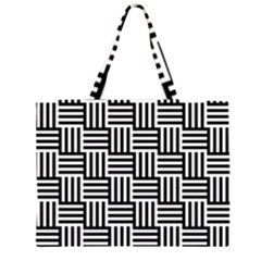 Black And White Basket Weave Zipper Large Tote Bag