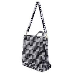 Black And White Basket Weave Crossbody Backpack