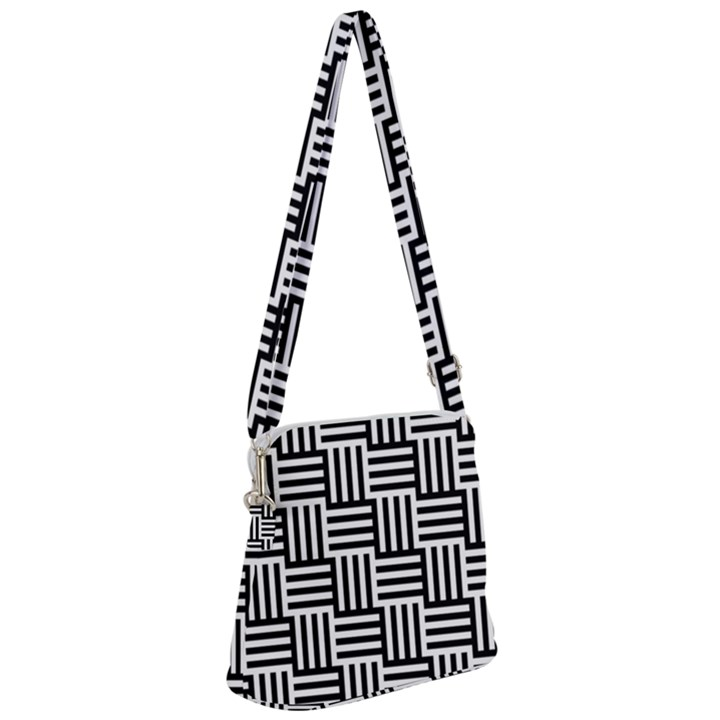 Black And White Basket Weave Zipper Messenger Bag