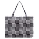 Black And White Basket Weave Medium Tote Bag View1