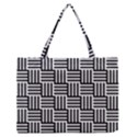 Black And White Basket Weave Zipper Medium Tote Bag View1