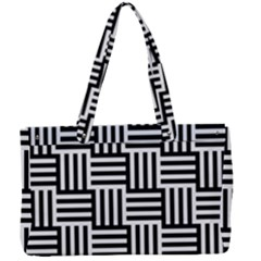 Black And White Basket Weave Canvas Work Bag