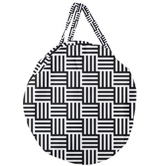 Black And White Basket Weave Giant Round Zipper Tote
