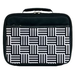Black And White Basket Weave Lunch Bag