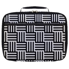 Black And White Basket Weave Full Print Lunch Bag
