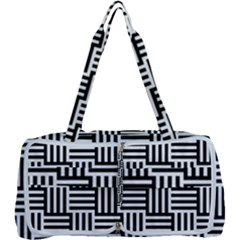 Black And White Basket Weave Multi Function Bag