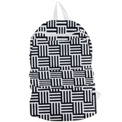 Black And White Basket Weave Foldable Lightweight Backpack