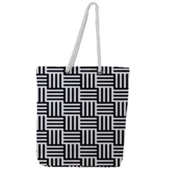 Black And White Basket Weave Full Print Rope Handle Tote (Large)