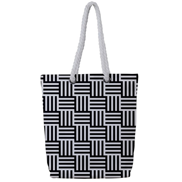 Black And White Basket Weave Full Print Rope Handle Tote (Small)