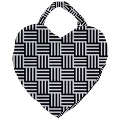 Black And White Basket Weave Giant Heart Shaped Tote