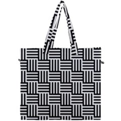 Black And White Basket Weave Canvas Travel Bag
