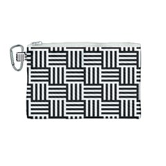 Black And White Basket Weave Canvas Cosmetic Bag (Medium)