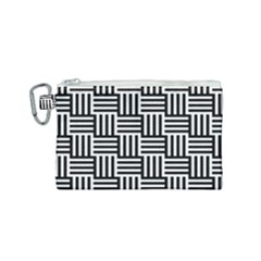Black And White Basket Weave Canvas Cosmetic Bag (Small)