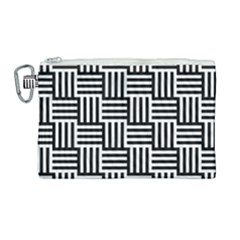 Black And White Basket Weave Canvas Cosmetic Bag (Large)