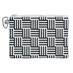 Black And White Basket Weave Canvas Cosmetic Bag (XL)