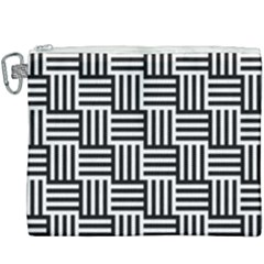 Black And White Basket Weave Canvas Cosmetic Bag (XXXL)