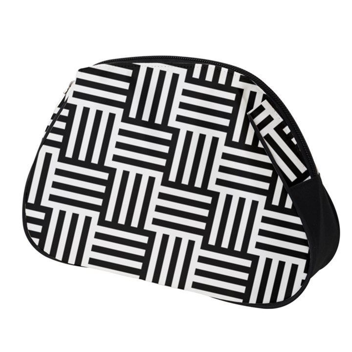 Black And White Basket Weave Full Print Accessory Pouch (Small)