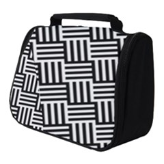 Black And White Basket Weave Full Print Travel Pouch (Small)