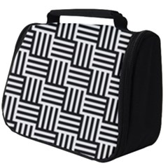 Black And White Basket Weave Full Print Travel Pouch (Big)