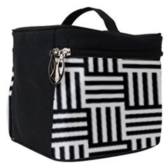 Black And White Basket Weave Make Up Travel Bag (Small)