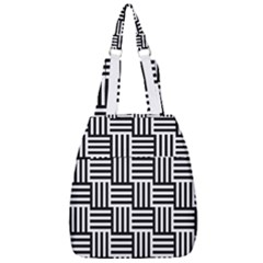 Black And White Basket Weave Center Zip Backpack