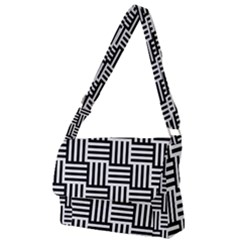 Black And White Basket Weave Full Print Messenger Bag