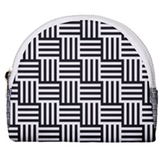 Black And White Basket Weave Horseshoe Style Canvas Pouch