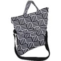 Black And White Basket Weave Fold Over Handle Tote Bag View1