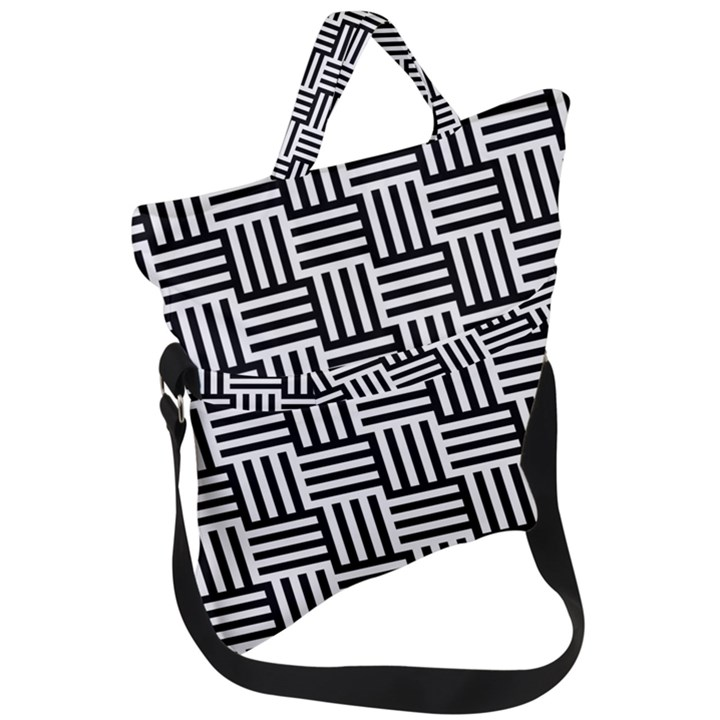 Black And White Basket Weave Fold Over Handle Tote Bag