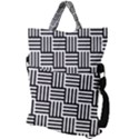 Black And White Basket Weave Fold Over Handle Tote Bag View2