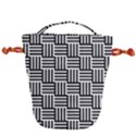 Black And White Basket Weave Drawstring Bucket Bag View1