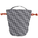 Black And White Basket Weave Drawstring Bucket Bag View2