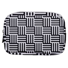 Black And White Basket Weave Make Up Pouch (Small)