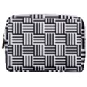Black And White Basket Weave Make Up Pouch (Medium) View1