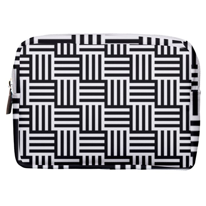 Black And White Basket Weave Make Up Pouch (Medium)